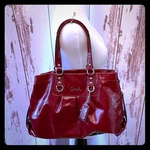 Burgundy Red Patent Leather Coach Satchel
